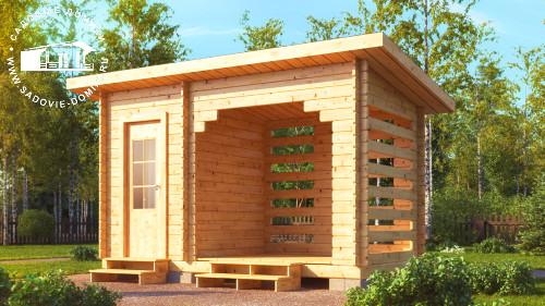 Проект деревянного туалета с дровником